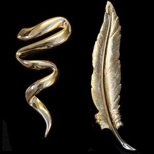 Monet Gold Leaf + Gold Swirl Pins